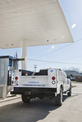 A Chesapeake natural gas fleet vehicle refueling.