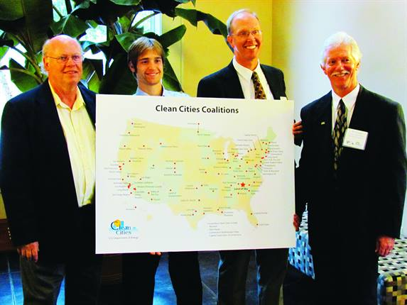Land of Sky Clean Vehicles Coalition held a designation ceremony on Oct. 29 to mark its official entry into the DOE's Clean Cities program. Attendees included (from left) Coalition Fleet Consultant Chris Dobbins, EV Project Manager Brian Taylor, Clean Cities Southeast Regional Manager Steve Richardson, and Coalition Coordinator Bill Eaker.
