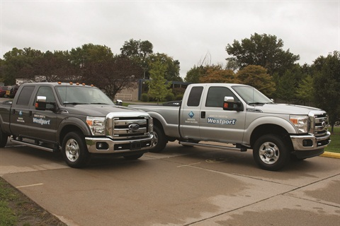 The Westport WiNG Power System is available in the popular Ford F-250 (right) and F-350 Super Duty pickup trucks (based on Ford's new 6.2L hardened engine platform).