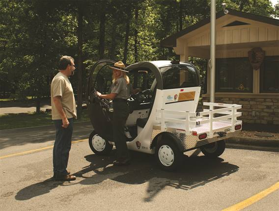 The GEM electric vehicle will be used for numerous tasks that take rangers around the Mammoth Cave Campground and the Visitor Center area.