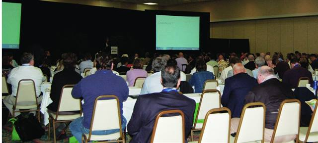 """General and breakout sessions at the 2010 Green Fleet Conference attracted large crowds. Seats filled fast, leaving """"standing room only"""" for late arrivers."""