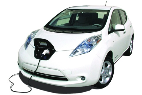 """The first-generation 2011 Nissan LEAF came with two types of charging outlets, one for the Level 2 (220v/240v) and another (inset photo) is an outlet for the """"DC Fast Charger,"""" or Level 3 outlet that can charge in about 25 minutes using 480 volts or more."""