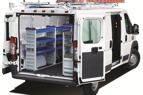 Masterack's plastic composite SmartSpace van cargo management system achieves weight savings by as much as 30 to 35 percent over a traditional steel system.