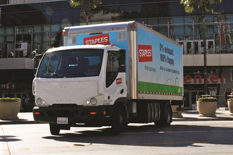 Staples currently utilizes 53 Smith Newton battery-powerelectric trucks in or near eight cities across the U.S. on routes that include frequent stops and limited miles.