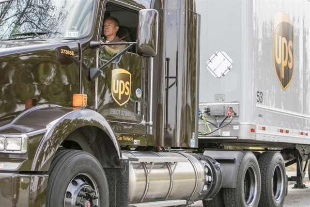 Natural gas, both LNG and CNG, is part of UPS' extensive alternative fuel and advanced technology fleet. Because the company doesn't sell its trucks as used, resale value is not a factor in its choice. Photo: UPS