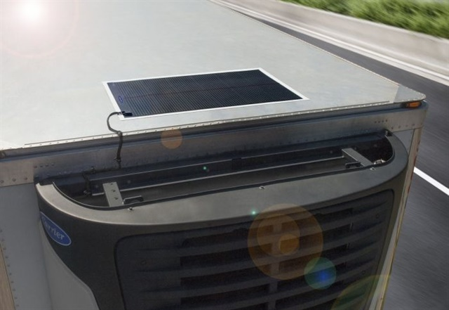 Carrier Transicold's Thin Film Flexible Solar Panels are specifically designed to maintain the refrigeration unit's battery charge, even if it's cloudy. Photo: Carrier Transicold
