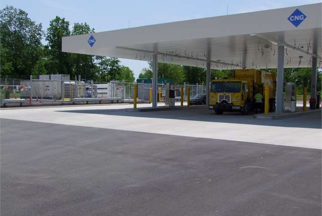 Project use and need before constructing a CNG fueling station in order to size correctly. Pictured is the City of Columbus, Ohio, CNG fueling station, a project in which Adams served as consultant. Photo courtesy of Marathon Corporation.
