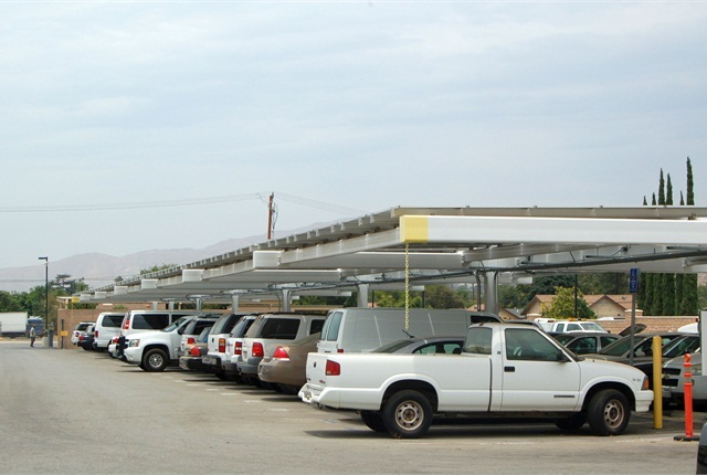 In addition to greening its vehicles, the county installed solar panels covering a portion of its lot, which was entirely paid for with a federal energy efficiency grant. Completed in 2011, the solar panels supply one-third of the fleet facility's electricity use.