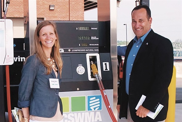 Executive Director Tony Bandiero (right) poses with stakeholder and Special Projects Coordinator Michelle Marsh to celebrate the opening of the Lancaster County Solid Waste Management Authority's first compressed natural gas (CNG) station to support its newly converted transfer fleet. Photo courtesy of Lancaster County Solid Waste Management Authority