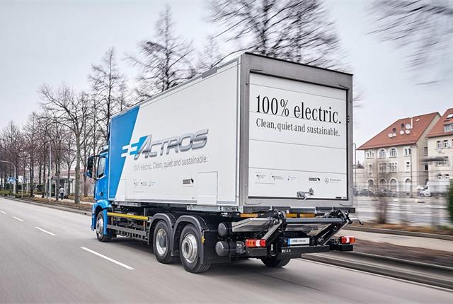 Daimler Trucks has a 'Baby 8' eActros electric truck in fleet testing in Europe; is an e-Cascadia next? Photo: Mercedes-Benz