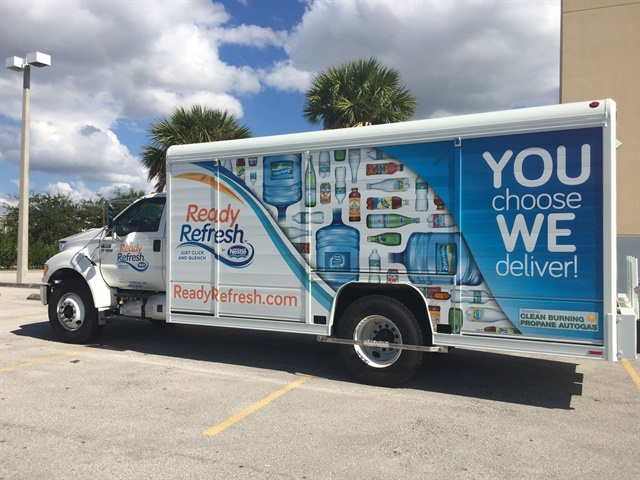 Nestlé Waters North America added 155 propane autogas trucks to its fleet after piloting 29 vehicles in 2014 and 2015. (PHOTO: Nestle Waters USA)
