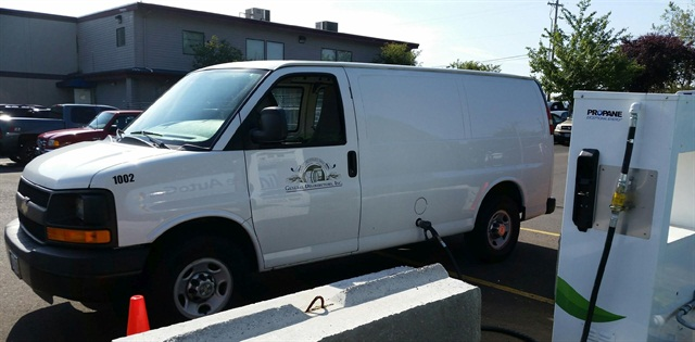 One of General Distributors' propane-powered cargo vans being refueled at its on-site propane autogas fueling station.