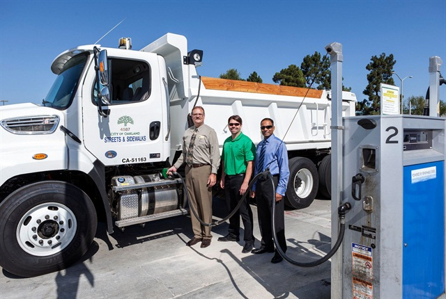 (L-R) Richard Battersby, City of Oakland, Calif.; Pat O'Keefe, Golden Gate Petroleum; and Neville Fernandes from Neste are pictured after the City of Oakland announced its switch to renewable diesel. Photo courtesy of City of Oakland