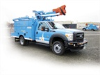 PG&E's Class 5 plug-in hybrid electric bucket truck, developed in partnership with Efficient Drivetrains Incorporated (EDI), features up to 40 miles all-electric range. Photo courtesy of PG&E.