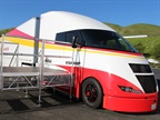 The Starship is a highly aerodynamic demonstration truck developed by Shell and Airflow  to test how existing technologies and innovative design can improve trucking efficiency. Photos: Jim Beach