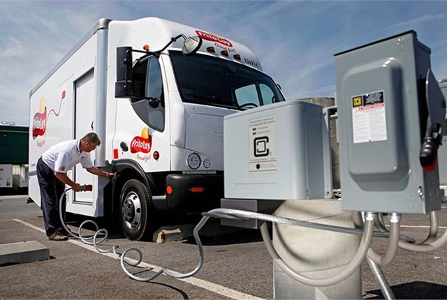 The CS-100-3P charging station powers a Frito Lays delivery truck.PPhoto: ClipperCreek
