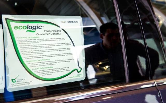 The Ecologic label lists what was done to reduce the vehicle's environmental impact. The Malibu Ecologic label outlines responsible manufacturing, efficient technologies and recyclability. (Photo by Steve Fecht for Chevrolet)