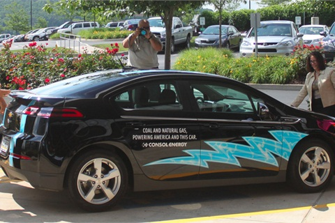 The Chevy Volt is distinctively marked with sporting blue flames, which have become synonymous with natural gas. Steve Winberg, vice president of research and development said the Chevrolet Volt will serve as the flagship electric vehicle in CONSOL's corporate fleet.Photo Credit: PRNewsFoto/CONSOL Energy Inc.