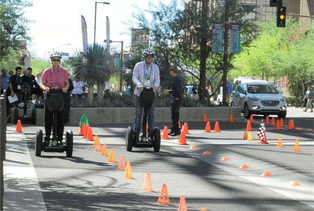 Attendees got competitive during the Segway races.