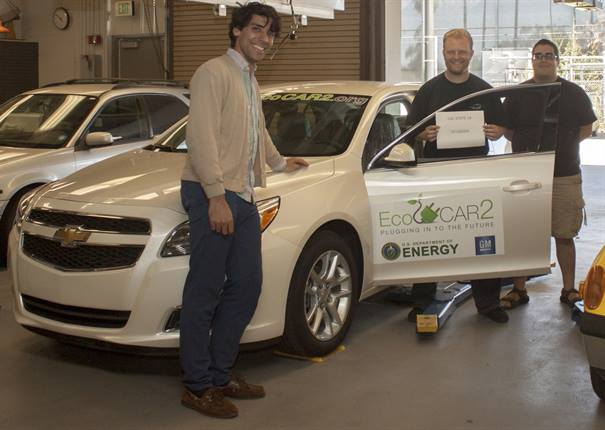 (Left to right) Student Abraham Vargas, outreach coordinator for Cal State L.A.'s EcoCAR 2 team, Professor Chris Reid, team leader, and student Justin Bower, electrical team co-lead.