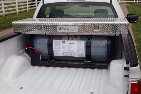 The F-150 CNG/LPG-capable pickup truck carries the CNG tank in the bed of the truck.Photo courtesy of Ford Motor Co.