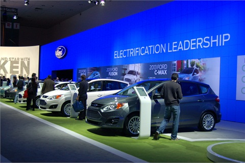 """Ford showed off its lineup of """"electrified"""" vehicles, including the Focus Electric, Fusion Hybrid, and C-MAX models."""