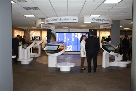 The education center features a range of interactive displays that showcase the wide variety of GE technologies.