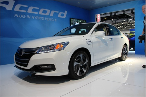 Honda announced at the show that the 2014 Accord Plug-In Hybrid will be available for retail sale and lease beginning Jan. 15, 2013 in California and New York, with an MSRP of $39,780. The 2014 Accord Plug-In achieves 115 MPGe, and has been rated by the EPA with a maximum all-electric EV mode range of 13 miles, and a fuel economy rating of 47/46/46 mpg (city/hwy/combined). The Accord Plug-In is the first production car in America to meet the more stringent new LEV3/SULEV20 emissions standard, and it will also qualify for single-occupant carpool-lane access in California. The two-motor Accord Hybrid will launch nationwide next summer, with anticipated class-leading fuel economy ratings of 49/45/47 mpg (city/hwy/combine