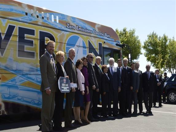 California Gov. Jerry Brown joined a host of local, state and company officials at the unveiling of BYD's first California-made, all-electric 40-foot rapid transit bus at ceremony held at BYD's new plant in Lancaster.