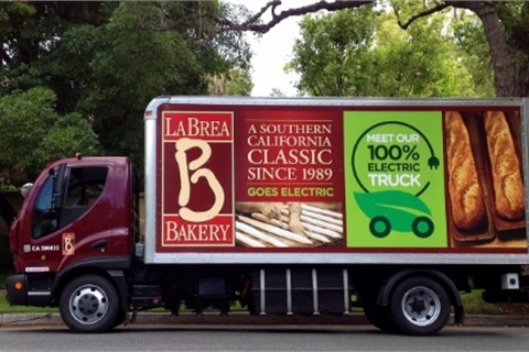 La Brea Bakery's four trucks will travel a combined estimated 1,120 miles a week throughout Los Angeles County to more than 80 retailers and restaurants.