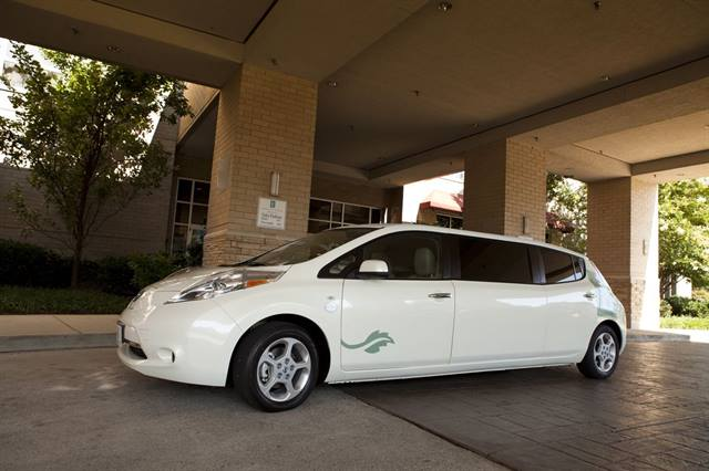 Committed to luxury and going green, the hotel chain contracted a company out of Missouri to modify the electric vehicle into a stretch limo.