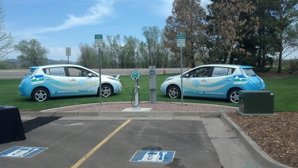 Two Nissan LEAFs owned by the City of Loveland, Colo. Fleet manager Steve Kibler and his co-worker Gus Brown drove one of them to the Clean Cities Colorado chapter's annual meeting.