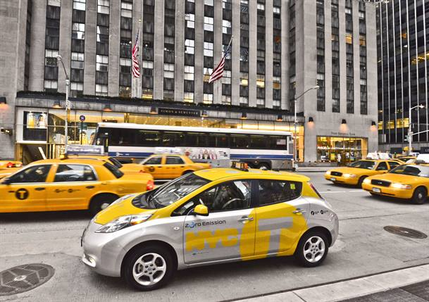 One of the six new Nissan LEAF taxis in service in New York City. Photo courtesy Nissan.