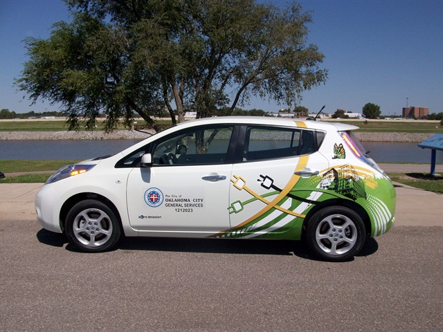One of two Nissan Leaf electric vehicles that Oklahoma City is operating as part of a pilot program.