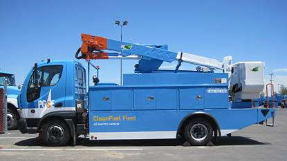 PG&E's fleet includes all-electric bucket trucks it helped design. Photo: PG&E