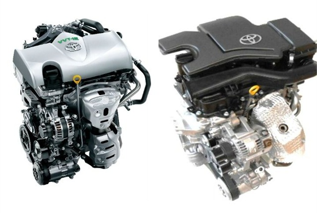 Photo of 1.3L (left) and 1.0L 2015 engines courtesy of Toyota.