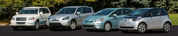 Toyota's advanced fuel vehicles: hybrid, plug-in hybrid, natural gas hybrid, and hydrogen fuel cell hybrid.Photo courtesy Toyota Motor Corp.