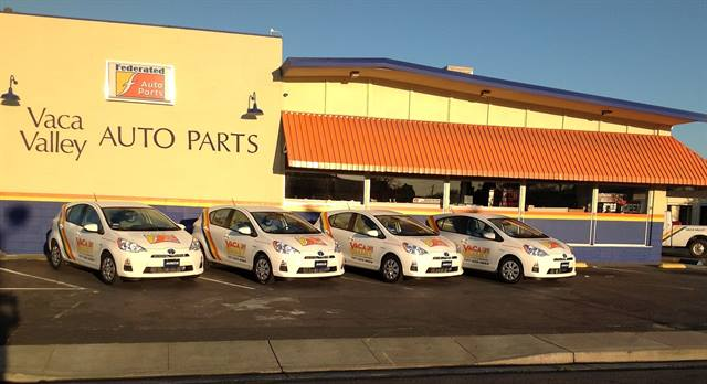 The Fairfield, Calif.-based company has added four Prius C Hybrids to its delivery fleet to help combat fuel costs. (Photo: Vaca Valley Auto Parts)