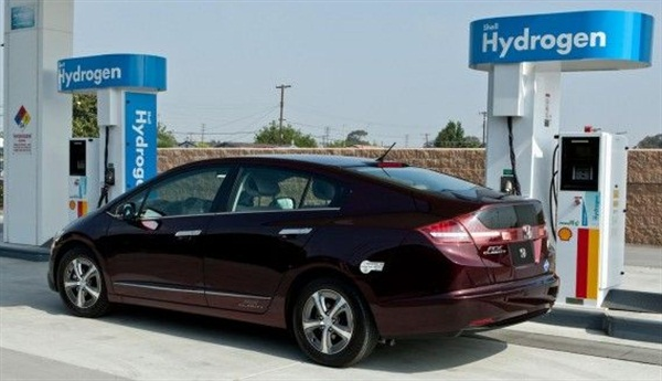 Photo credit: HondaThe Honda FCX Clarity is Honda's only hydrogen fuel cell electric vehicle shown here at the world's first hydrogen refueling station in Torrance, Calif.
