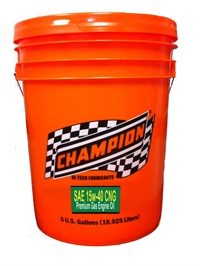 Photo credit: Champion Brands, LLCThe Champion Low-Ash 15w-40 Synthetic CNG Engine Oil is available in 5-gallon pails