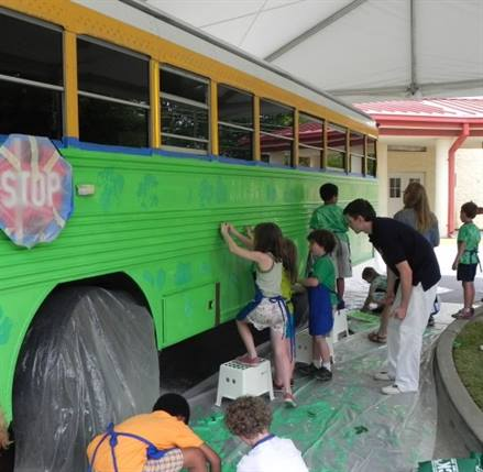 <p>Elementary school students paint the