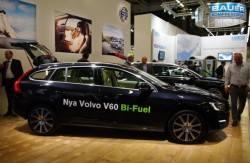 The Volvo V60 Bi-Fuel Sport stands beside the Volvo V70 Bi-Fuel at the NGV 2013 Gothenburg.
