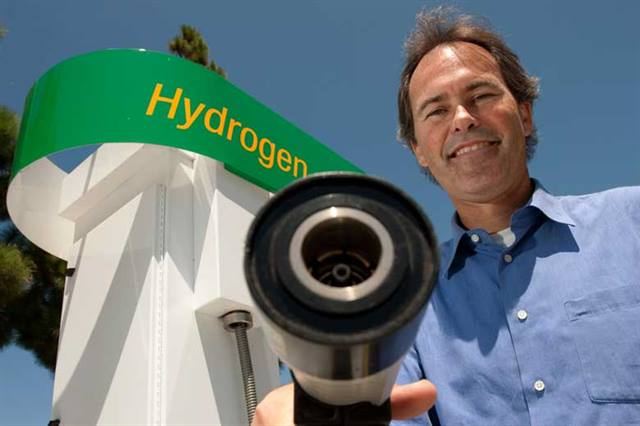 National Fuel Cell Research Center Associate Director Jack Brouwer at the new hydrogen station in Fountain Valley, Calif. Photo/Steve Zylius-UCI