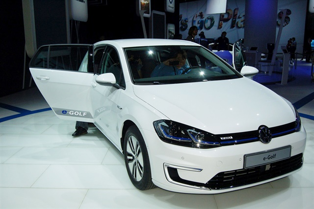 Volkswagen presented the 2017 e-Golf at Automobility LA. Photo by Amy Winter-Hercher.
