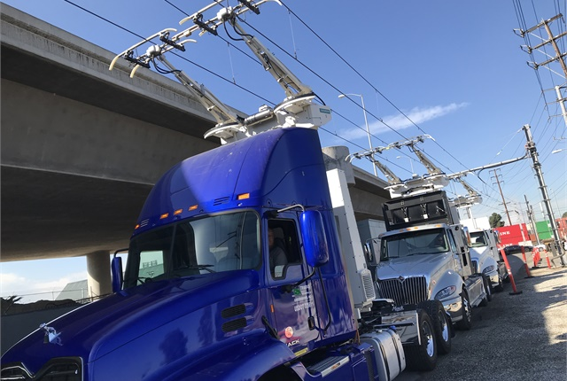 Three different types of trucks are being tested: one battery-electric truck, a clean natural-gas hybrid-electric truck, and a diesel-hybrid truck. Photo: Siemens