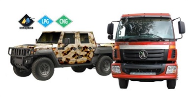 The Dominator (left) and Class 7 truck offerings from Alkane will now be able to be fueled with gasoline as an option. (PHOTO: ALKANE)