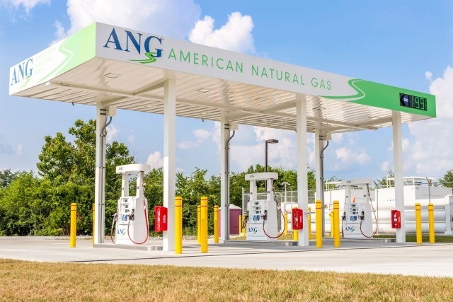 Open 24-hours, the fast-fill Fayetteville station has three consumer-friendly dispensers equipped with NGV2 nozzles to optimize the experience for heavy-duty, high-capacity users, as well as NGV1 nozzles for light and medium-duty use.  (Photo courtesy of ANG)
