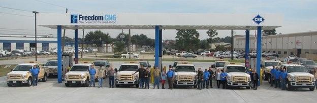 Boyer fleet and staff at Houston Freedom DNG station. (PHOTO: NAT G)