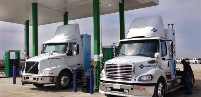 Trucks at CNG fuel station.
