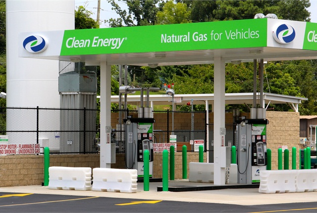 A natural gas fueling station getting ready to open. Photo: Evan Lockridge